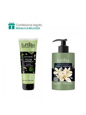 Doccia Shampoo (Tiglio e camomilla) + Sapone mani delicato (Fiori di vaniglia) Euphidra