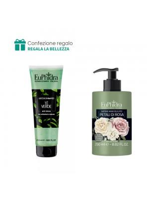 Doccia Shampoo (Tè verde) + Sapone mani delicato (Petali di rosa) Euphidra