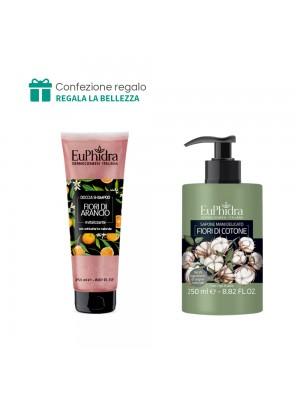 Doccia Shampoo (Fiori di arancio) + Sapone mani delicato (Fiori di cotone) Euphidra